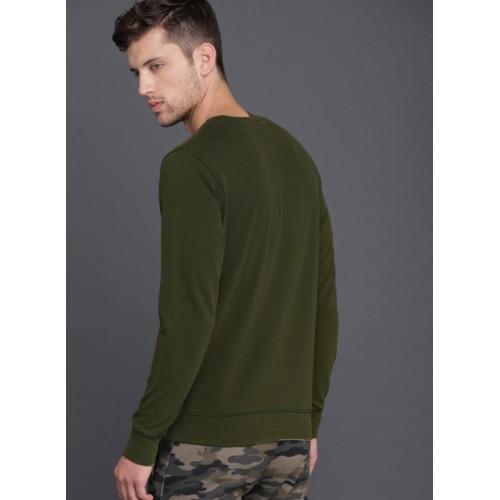 WROGN Olive Green Printed Sweatshirt