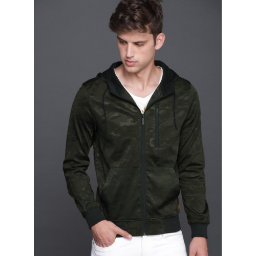 WROGN Olive Green Camouflage Printed Hooded Sweatshirt