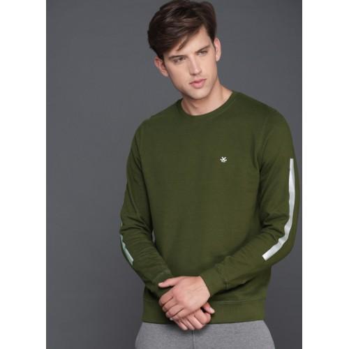 WROGN Olive Green Solid Sweatshirt