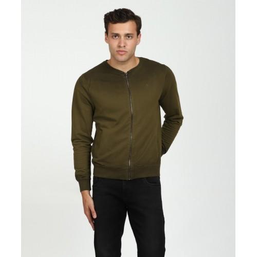 WROGN Green Cotton Full Sleeve Solid Men's Sweatshirt