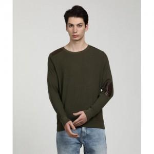 WROGN Green Cotton Full Sleeve Self Design Men's Sweatshirt