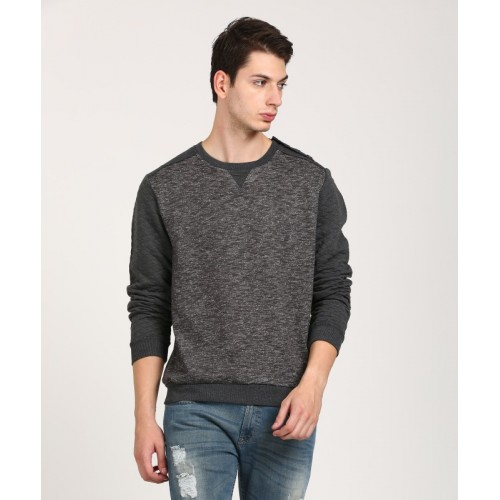 WROGN Full Sleeve Colorblock, Self Design Men's Sweatshirt