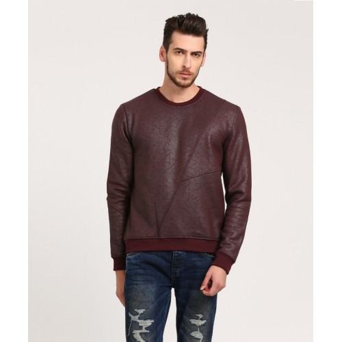 WROGN Maroon Cotton Full Sleeve Self Design Men's Sweatshirt