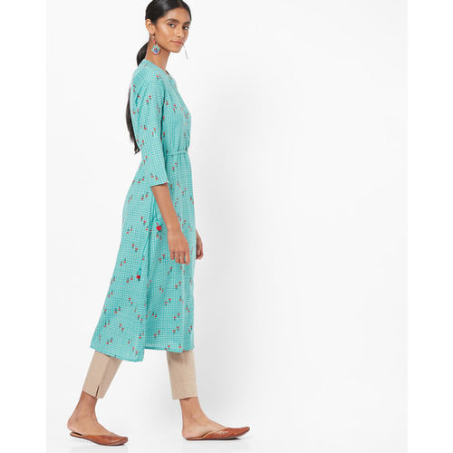 Global Desi Checked A-line Kurta with Tie-Up