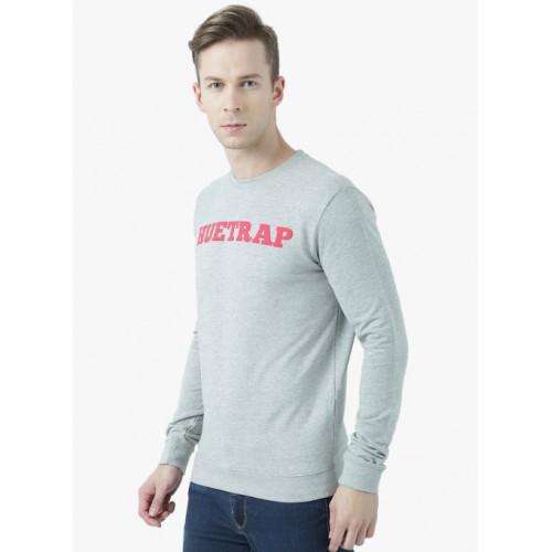 Huetrap Grey Melange Printed Sweatshirt