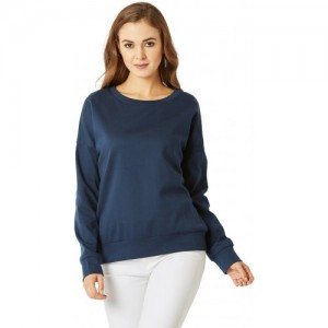 534fa057e2b Miss Chase Women s Navy Blue Round Neck Solid Cotton Full Sleeves Boxy  Sweatshirt