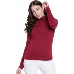 Texco Maroon Non Hooded Sweatshirt for Women