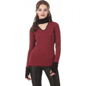 Texco Maroon Embelished Sweatshirt With Chocker Neck & Attached Gloves