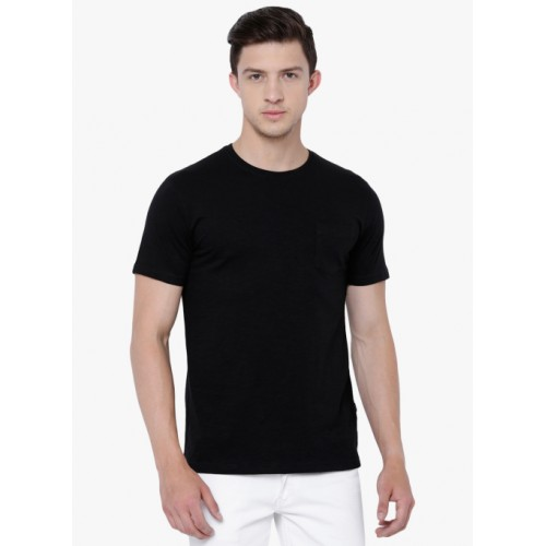 HIGHLANDER Black Solid Round Neck T-Shirt