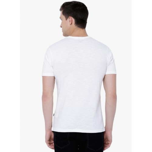 HIGHLANDER White Solid Round Neck T-Shirt