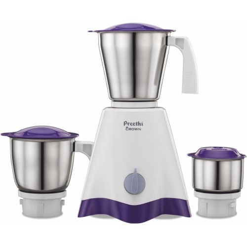 Preethi Crown MG-205 500 W Mixer Grinder(White/Purple, 3 Jars)