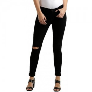 Women's Black Slim Fit High Rise Ripped Knee Regular Length Denim Jeans