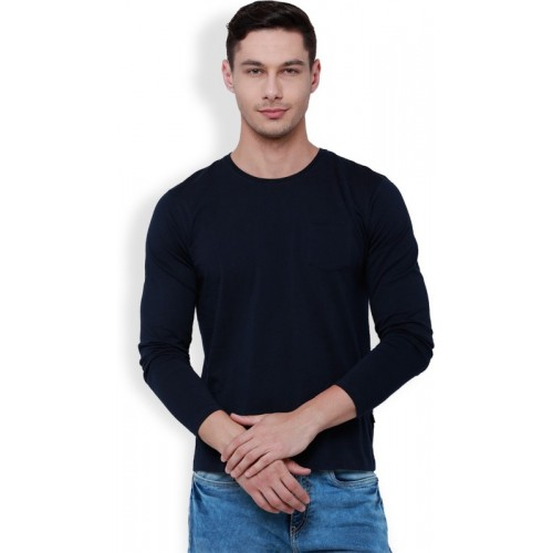 Highlander Solid Men's Round Neck Grey, Dark Blue T-Shirt(Pack of 2)