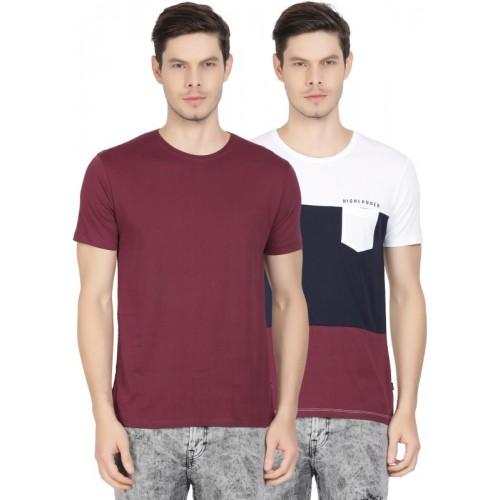 Highlander Solid Men's Round Neck Multicolor T-Shirt(Pack of 2)