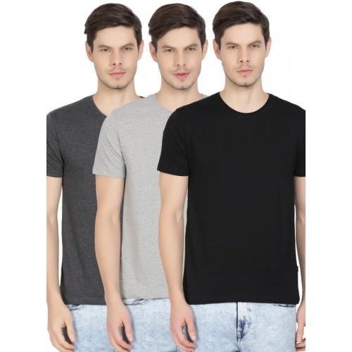 Highlander Solid Men Round Neck Multicolor T-Shirt(Pack of 3)