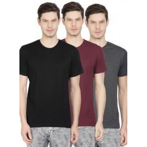 c3324d4350a76 Buy Highlander Solid Men s Round Neck Multicolor T-Shirt(Pack of 3) online