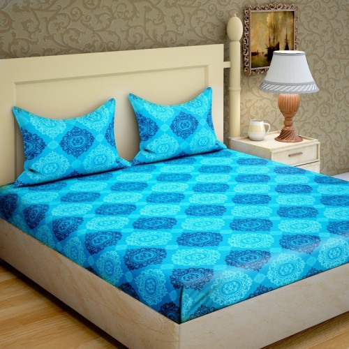 IWS 104 TC Cotton Double Printed Bedsheet(Pack of 1, Multicolor)