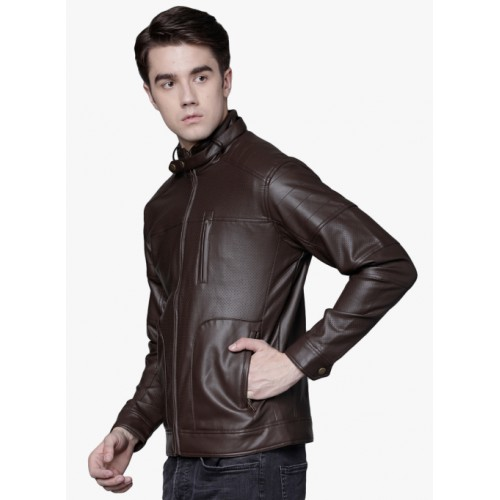 LOCOMOTIVE Brown Solid Leather Jacket