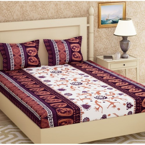 Metro Living 104 TC Cotton Double Printed Bedsheet(Pack of 1, Purple)