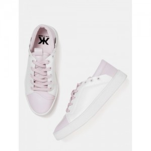 Kook N Keech Women White & Lavender Colourblocked Sneakers