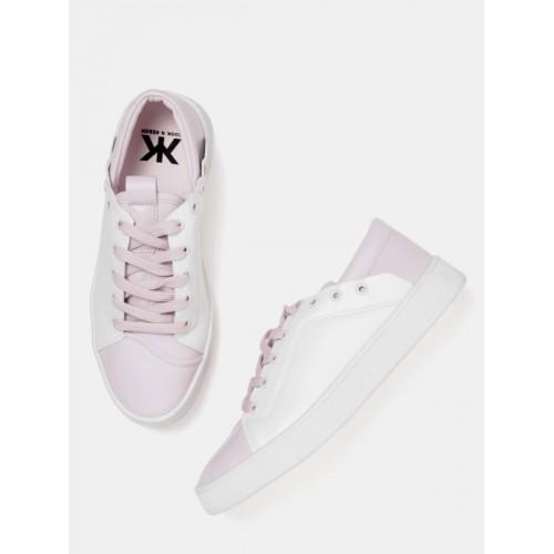 Kook N Keech Women White & Lavender Colourblocked Sneakers