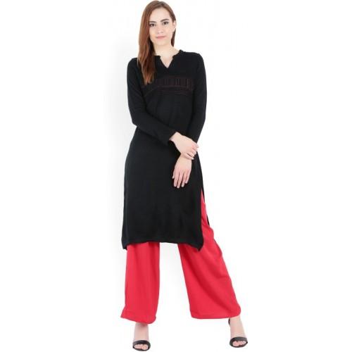 d9f478afbb1 Buy Aurelia Women Solid Straight Kurta(Black) online