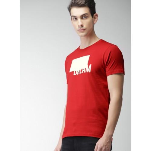 Harvard Red Cotton Printed Round Neck T-Shirt