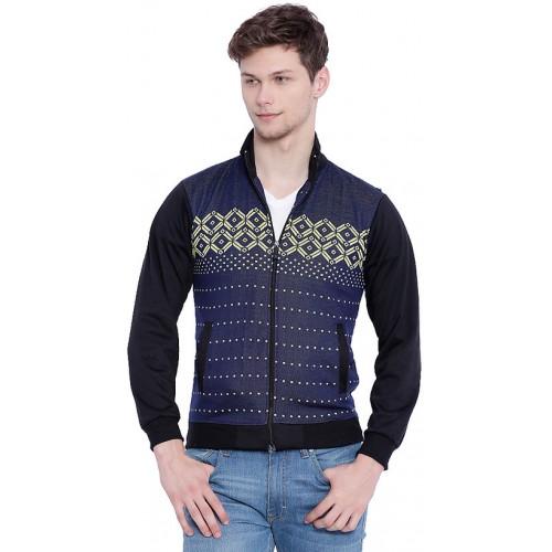 Campus Sutra Blue Stand Collar Sweatshirt