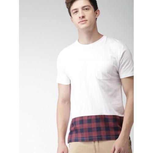 Harvard Men White Cotton Solid Round Neck T-shirt