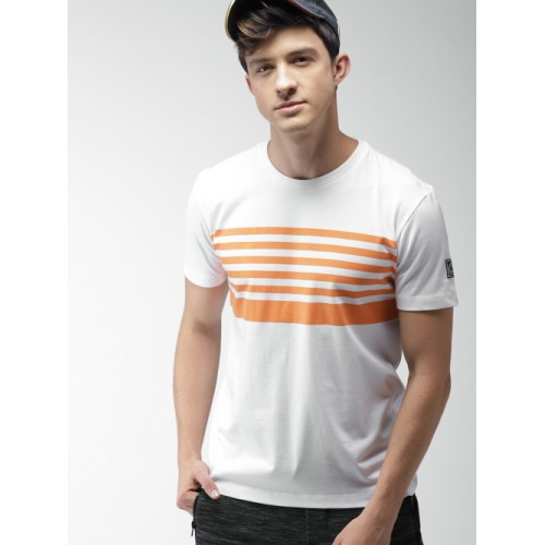 Harvard White & Orange Cotton Striped Round Neck T-shirt