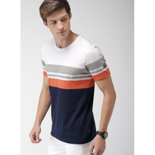 Harvard Multicolor Cotton Colourblocked Round Neck T-shirt