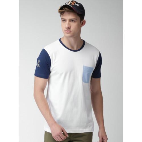 Harvard White Cotton Solid Round Neck T-Shirt