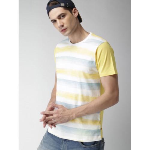Harvard Yellow Striped Round Neck T-Shirt