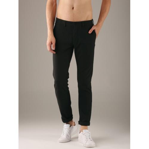 Flying Machine Men Charcoal Grey Super Slim Fit Self Design Regular Trousers