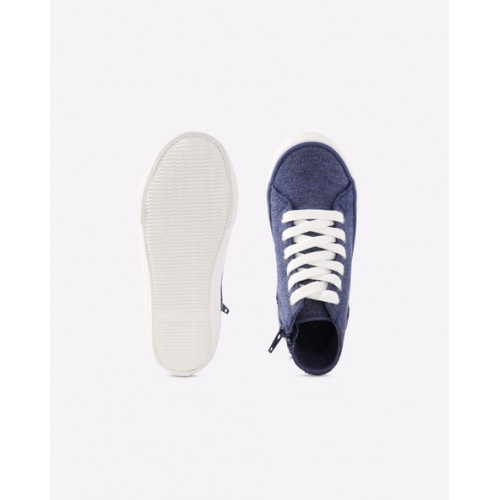 United Colors of Benetton Kids Navy Blue Solid Mid-Top Sneakers