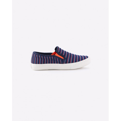United Colors of Benetton Unisex Navy Blue & Pink Striped Slip-On Sneakers