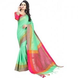 Manvaa Woven Kanjivaram Cotton Silk Saree(Green)