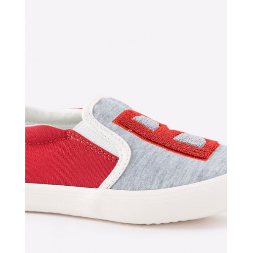 UNITED COLORS OF BENETTON Textured Panelled Slip-Ons with Applique