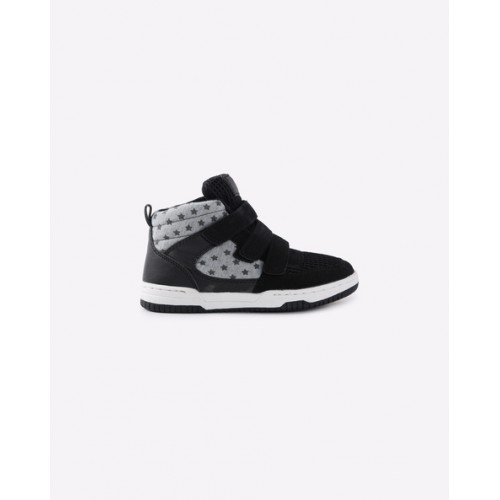 United Colors of Benetton Unisex Black & Grey Melange Printed Mid-Top Sneakers