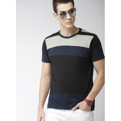 Harvard Black & Navy Blue Colourblocked Round Neck T-shirt