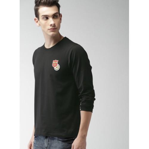 Harvard Black Solid Round Neck T-shirt