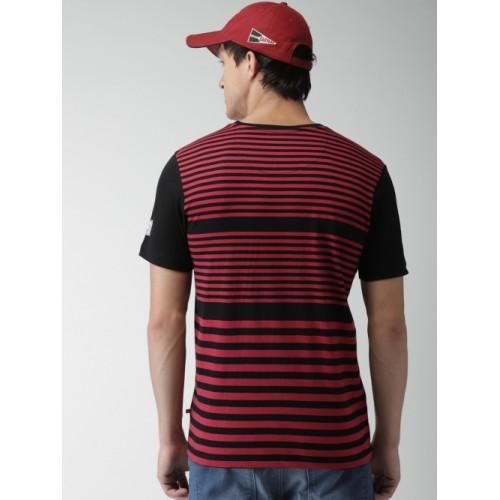 Harvard Black Striped Regular Fit Round Neck T-shirt