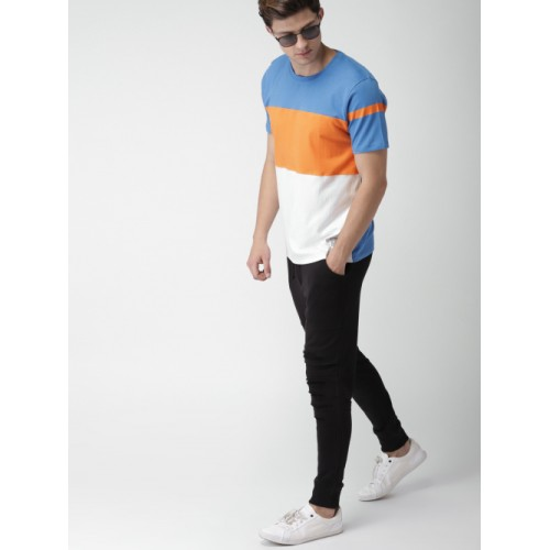 Harvard Blue & Orange Colourblocked Round Neck T-shirt