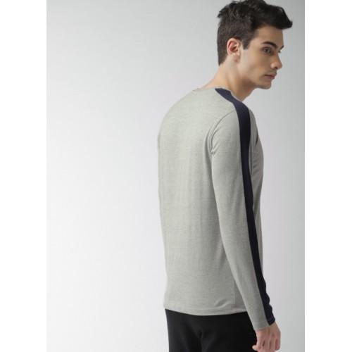 Harvard Grey Melange Solid Round Neck T-Shirt