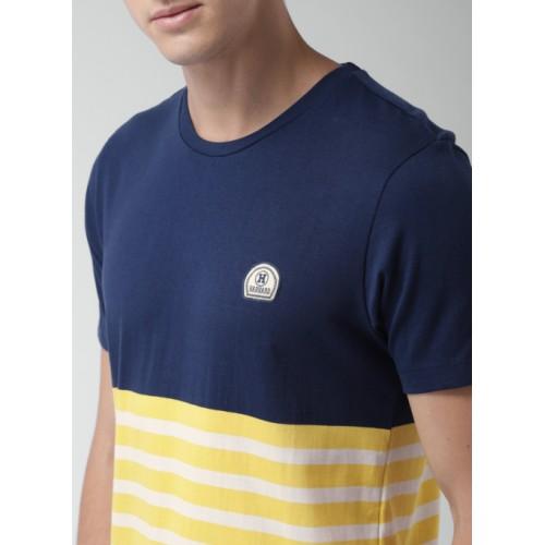 Harvard Navy Blue Striped Round Neck T-Shirt