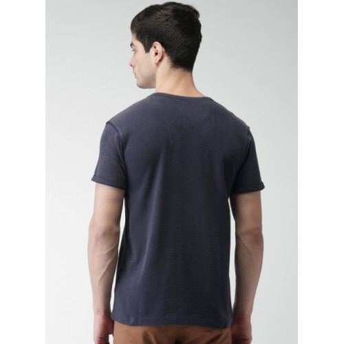 Harvard Navy Blue Solid Round Neck T-Shirt