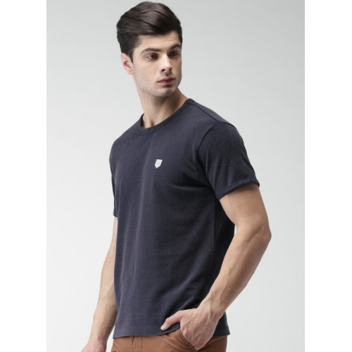 Harvard Navy Blue Solid Round Neck T-Shirt