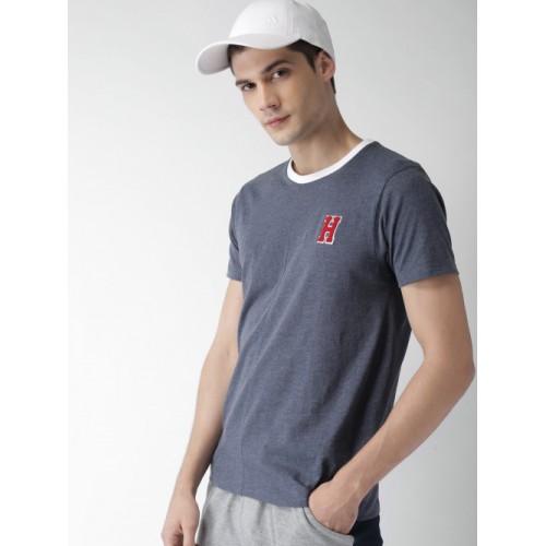 Harvard Men Navy Blue Solid Round Neck T-shirt