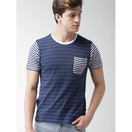 Harvard Men Navy Striped Round Neck T-shirt