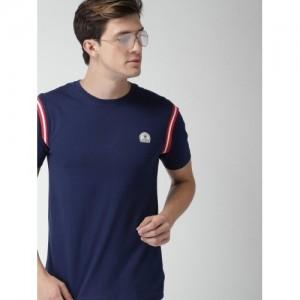 Harvard Navy Solid Round Neck T-shirt